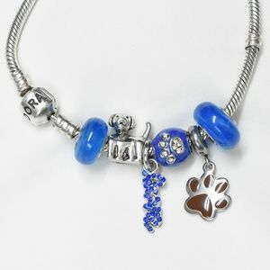 Blue Dog Themed Charm Set of 6 NEW / Fits Pandora